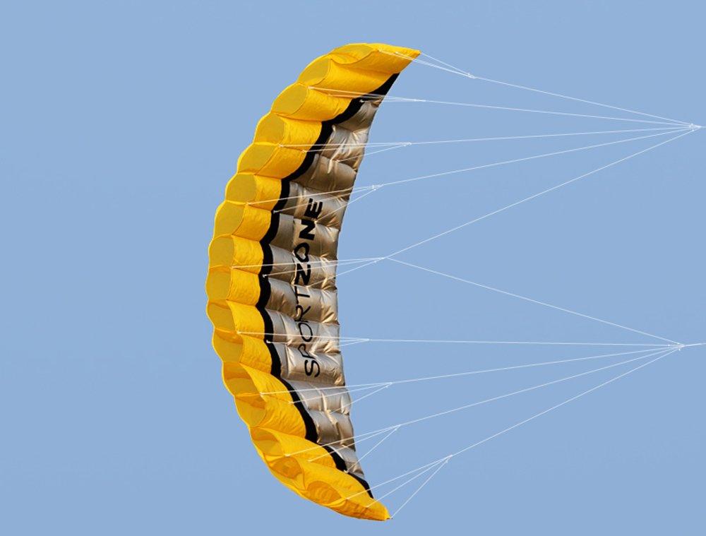 Huya Force 2.5m doppia linea trovata Parafoil aquilone con lo spago e il manico da 30m, sport aquilone sulla spiaggia, gioco divertente nel parco e giardino all' aperto Hoomya
