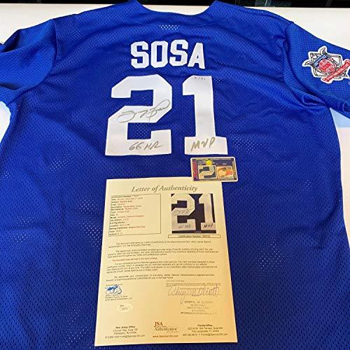 (Sammy Sosa 66 Home Runs Mvp Autographed Signed Authentic Chicago Cubs Jersey Memorabilia JSA)