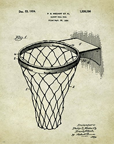 Basketball Hoop Motivational Patent Poster Art Print 11x14 Classroom College AAU Lakers Bulls Heat Wall Decor - Jordon Creek