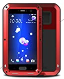 LOVE MEI Heave-Duty Case for HTC U11, Waterproof Shockproof Dustproof Powerfull Aluminum Metal with Tempered Glass Cover [Two-Years Warranty] Red