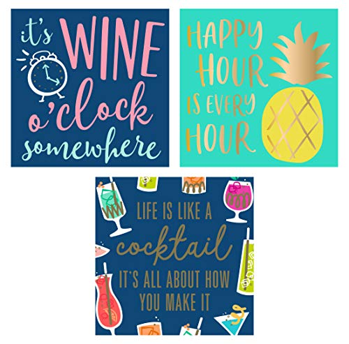 Happy Hour Beverage/Appetizer/Dessert Napkins - 3 Styles (60 Count, 3 Packs of 20)