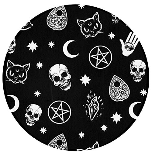 (SuperJK Fashion Chair Floor Rug, Soft Flannel Circle/Round Doormat, Kitchen Office Skull Cat Moon Gothic Pattern Black Decor & Protection Carpet, Water Absorb & Durable Bath Rugs )