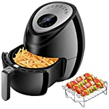 Air Fryers 1500W 3.8QT, 7-in-1 Hot Air Fried Cooker with Detachable Dishwasher Safe Basket + 4 Additional Accessories + Recipe Cookbook Electric Air Fryer Intelligent LED Touch Screen Control