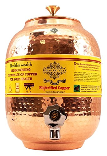 - IndianArtVilla Pure Copper Water Pot Tank with Tap | 135 Oz Spacious and Healthy Storage | Water Dispenser Home Hotel Garden Kitchen Benefit Yoga Ayurveda