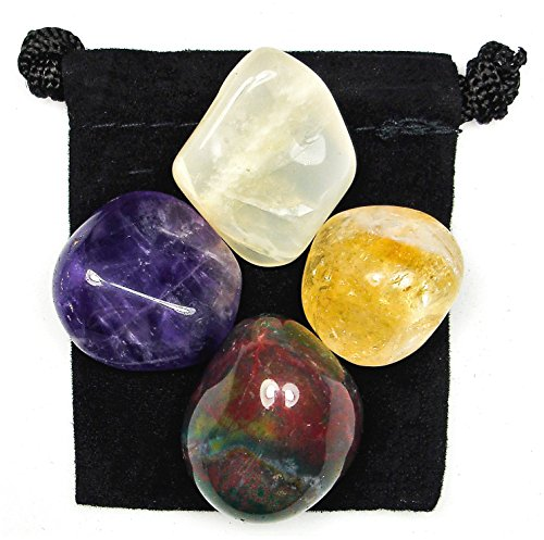 Golden Citrine Crystal - PSYCHIC INTUITION Tumbled Crystal Healing Set with Pouch & Description Card - Amethyst, Bloodstone, Citrine, and Moonstone