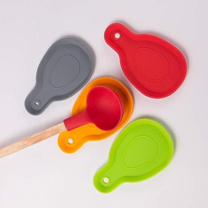 Webake Juego de 4 Soportes para Cuchara de Cocina de 100 /% Silicona de Grado Alimenticio Grande Cuchara de Descanso para Accesorios de Cocina Cepillos Esp/átula Cucharas
