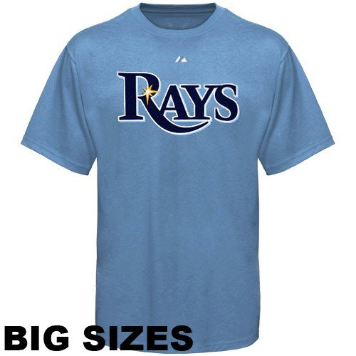 Majestic Tampa Bay Rays Alternate Wordmark T-Shirt Big and Tall Sizes - Light Blue (3X)