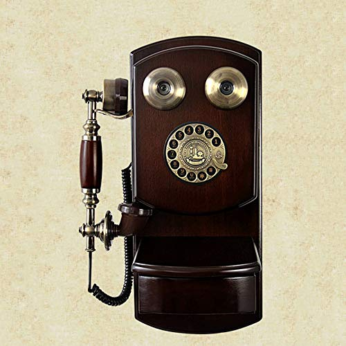 JIANword Vintage Phone Antique Wooden Wall-Mounted Telephone Turntable Rotary Dial Fixed Telephone Decoration,A,1 (Wall Mount Rotary Dial Phone)