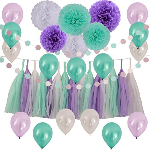 LyButty 83 Pieces Tissue Paper Pom Poms Flowers Tissue Tassel Garland Polka Dot Garland and Party Balloons Kit for Party Decorations Birthday Engagement Wedding-Mint Green Purple White
