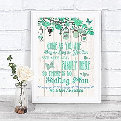 Letrero de boda con efecto de madera rústica verde en ...