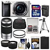 Cheap Sony Alpha A6000 Wi-Fi Digital Camera & 16-50mm Lens (Silver) with 55-210mm Lens + 32GB Card + Case + Battery/Charger + Tripod + Tele/Wide Lens Kit