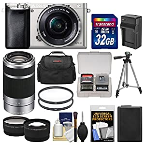 Sony Alpha A6000 Wi-Fi Digital Camera & 16-50mm Lens (Silver) with 55-210mm Lens + 32GB Card + Case + Battery/Charger…