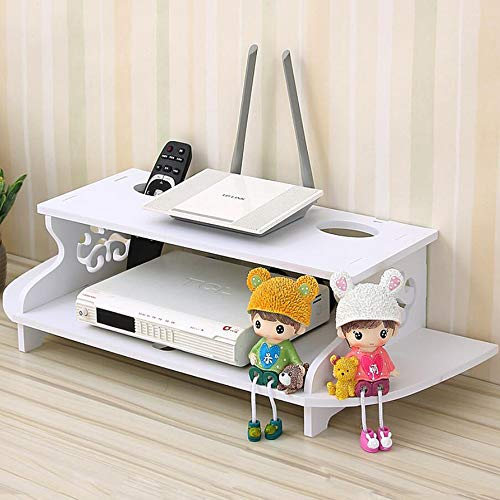 Price comparison product image HAI+ Two-Layer White Floating Shelves Wall-Mounted WiFi Router CD / VCD / DVD / TV Box Set-top Box Streaming Media Equipment