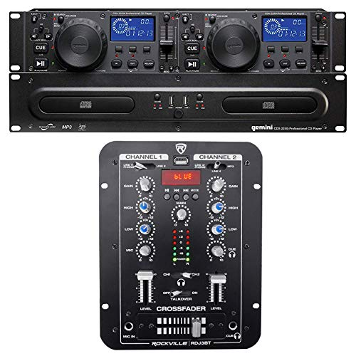 Gemini CDX-2250i Pro DJ Dual Two Deck Rack Mount CD/MP3 Media Player+2-Ch Mixer