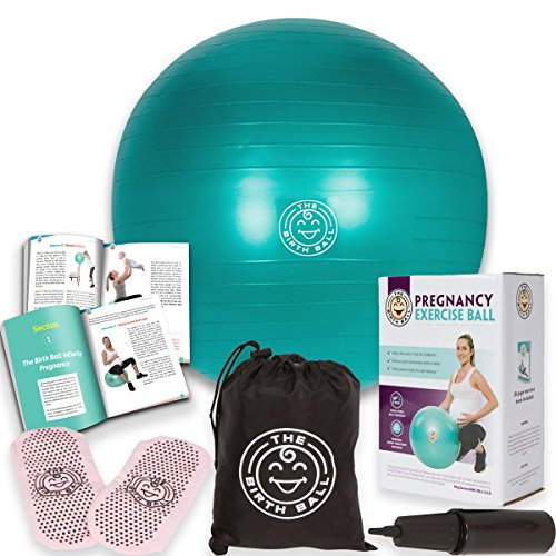 The Birth Ball - Birthing Ball for Pregnancy - Labor Ball + 18pg Pregnancy Ball Exercises Guide by Trimester How to Dilate, How to Reposition Baby & More 2000lb Stress Limit, Non Slip Socks