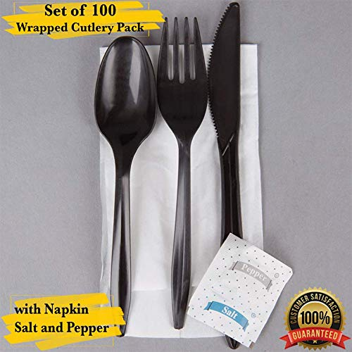 MM Foodservice Wrapped Plastic Cutlery Pack with Napkin, Salt and Pepper Packets, Individually Wrapped Cutlery Set. (Black, Pack of 100)