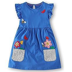Fiream Girls Summer Casual Dresses Cotton Short Sleeves Flower Dresses(186030,2T/2-3YRS)