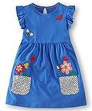 Fiream Girls Summer Casual Dresses Cotton Short Sleeves Flower Dresses(186030,7T/7-8YRS)