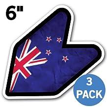 "[3 PACK] NEW ZEALAND - [Adelia Co] 6"" New Zealander Flag Kiwi Grunge JDM Wakaba Shoshinsha Mark New Driver Badge Leaf Sign Car Bumper Stickers Grungy"