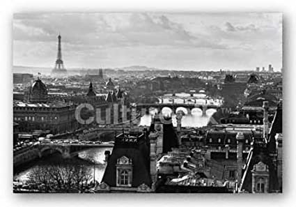 Paris rooftops city view vintage bw decorative city travel photography print unframed 24 x 36
