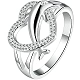 AWLY Jewelry Womens 925 Sterling Silver Heart Shape Cute Dolphin Eternity Love Promise Ring Wedding Band