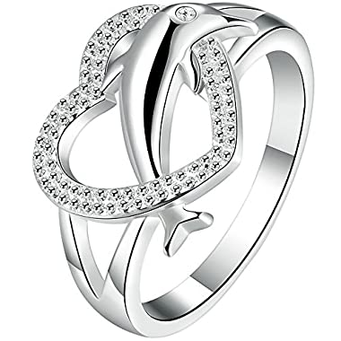 BOHG Jewelry Womens 925 Sterling Silver Plated Heart Dolphin Cute Eternity Ring Love Promise Wedding Band Size 9 low