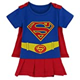 Rush Dance One Piece Super Hero Baby Wonder Baby Woman Romper Onesie Suit Cape (80 (9-12M), Supergirl (Red & Blue))