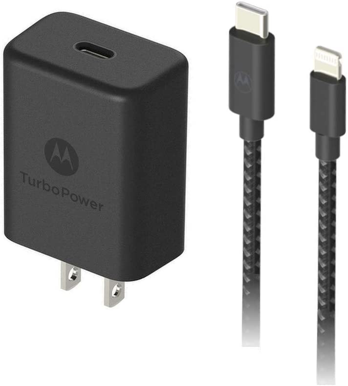 TurboPower 27 PD Charger with 1.5m (4.9ft) Braided USB-C to Lightning MFi Cable for Fast Charging iPhone 12, 12 Pro, 12 Pro Max, 12 Mini, 11, 11 Pro, X, XR, XS, XS Max