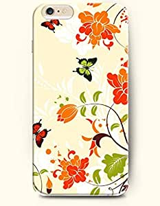 OOFIT New Apple iPhone 6 ( 4.7 Inches) Hard Case Cover - Swaying Butterflies and Blooming Red Flowers