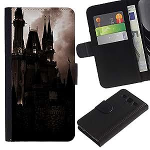 KingStore / Leather Etui en cuir / Samsung Galaxy S3 III I9300 / Spooky Noche Drácula Vampiro;