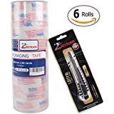 Packing Tape with Retractable Razor Knife Included Ultra Adhesive Clear Packaging - Box and Package Sealing Rolls for Shipping and Mailing - Fits Any Standard Guns and Dispensers (Set of 6)