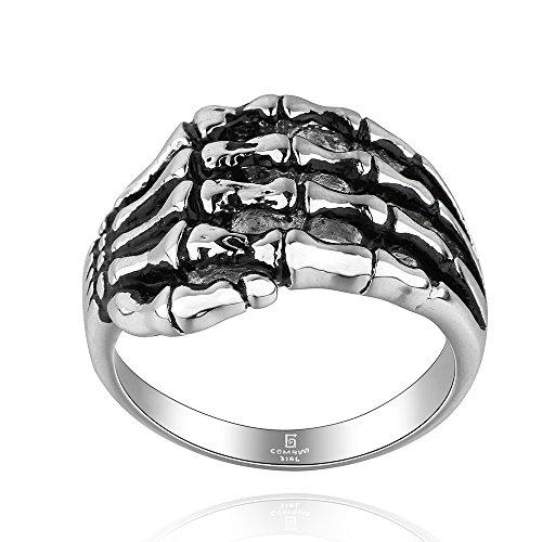 Bone Face Ring - CHENGCAI Black Stainless Steel Skull Hand bone Gothic Biker Ring (9)