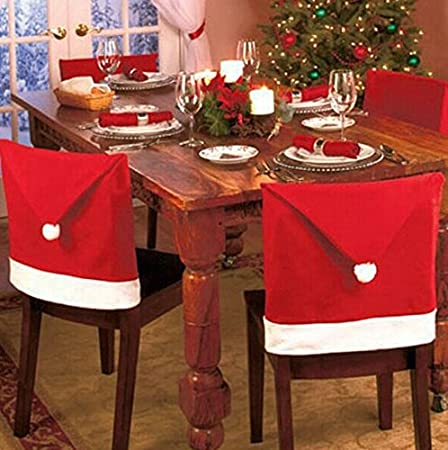 LOVE US Santa Claus Clause Hat Chair Covers Set of 4 Decor Christmas Holiday Festive Brand New 4 pcs No Model