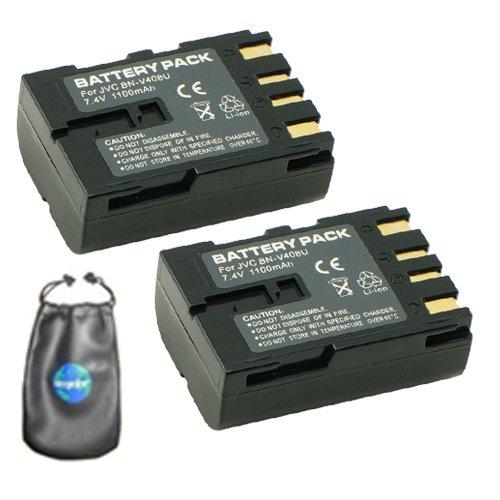 ValuePack (2 Count): Digital Replacement Camera and Camcorder Battery for JVC BN: V408, V408-H, V408U - Includes Lens Pouch by Amsahr