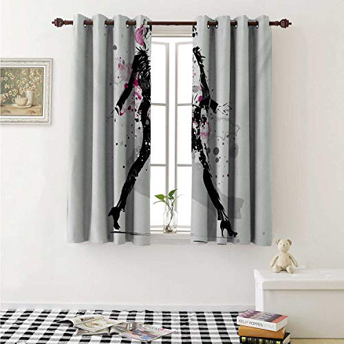 shenglv Fashion Decorative Curtains for Living Room Glamorous Stylish Sexy Woman Model on Catwalk Runway in Vintage Clothes Design Curtains Kids Room W72 x L72 Inch Black Pink ()