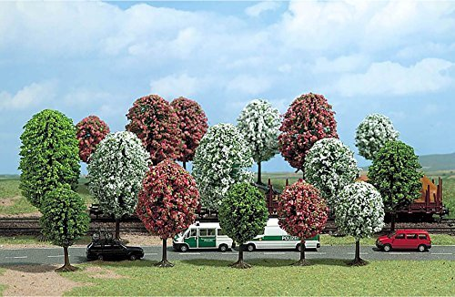 """Busch N/HO Scale Spring Fruit/Flowering Trees (Package of 16) 2-13/16""""-5"""""""