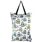 Reusable Large Hanging Wet/Dry Cloth Diaper Pail Bag for Reusable Diapers or Laundry (Owls)