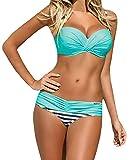 Nulibenna Push Up Two Piece Bikini Swimsuit Candy Patch Padded Swimwear Blue Medium