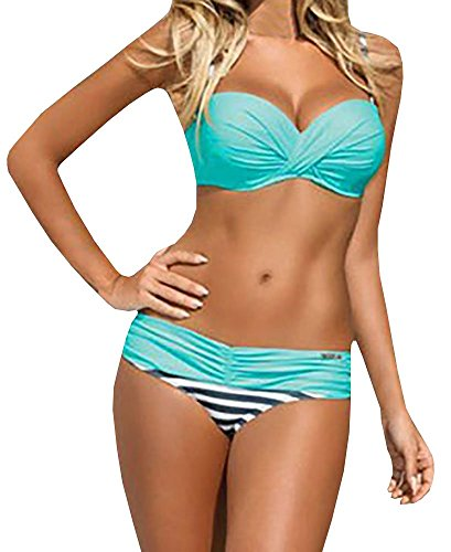 Nulibenna Push Up Two Piece Bikini Swimsuit Candy Patch Padded Swimwear Blue Large