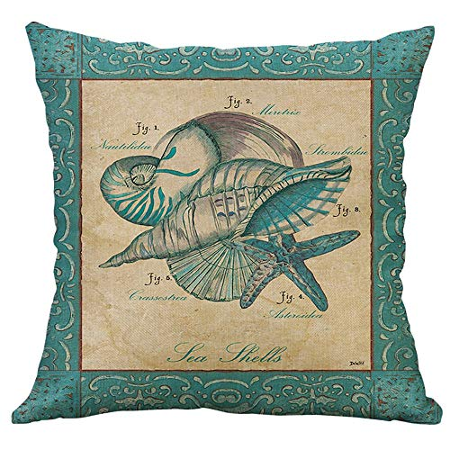 Littay Throw-Pillow-Covers, Simple Mediterranean Flax Retro Conch Shell Sea Creatures Pillow Cover