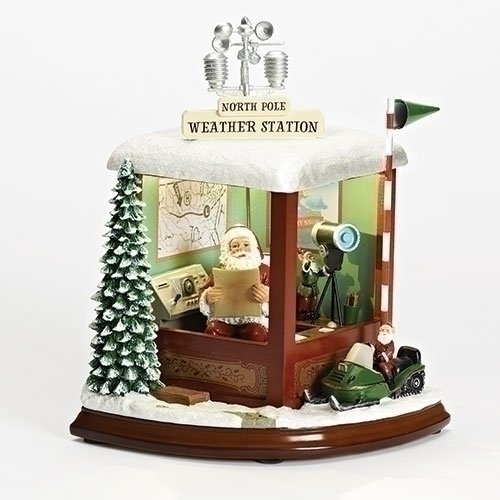 Roman - MUS 9''LED SANTA WEATHR STATION KD W/REVOLVING ANTENNA;IC CHP by Roman