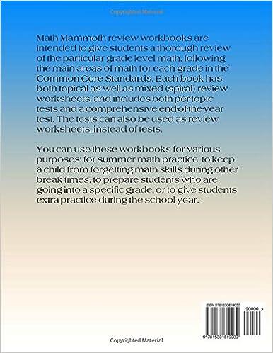 Math Mammoth Grade 5 Review Workbook: Maria Miller: 9781530619030 ...