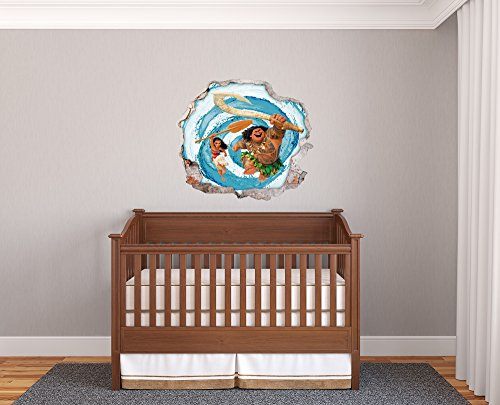 Moana Wall Effect 3D - Wall Decal For Room Boys Girls Unisex ((Wide 32''x28'' Heigh))