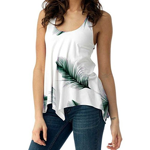 Cap Bride Sleeve Womens T-shirts - UOFOCO Women Blouse Plus Size Shirt Print Sleeveless Bandage Tank Vest Pullover Tops  White/Green Feather, Medium