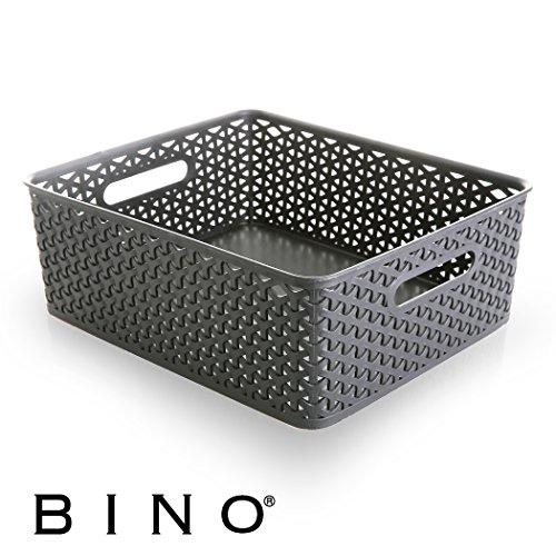 BINO T-Weave Woven Plastic Storage Basket, Medium (Grey)