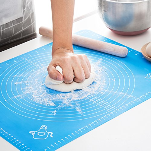 Silicone Baking Mat for Pastry Rolling with Measurements, Liner Heat Resistance Table Placemat Pad Pastry Board, Reusable Non-Stick Silicone Baking Mat for Housewife,Cook Enthusiasts