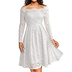 Liraly Womens Dresses For Wedding Guest Fashion New Vintage Off Shoulder Lace Formal Evening Party Dress Long Sleeve Dress White?� Us 10 Cn Xl