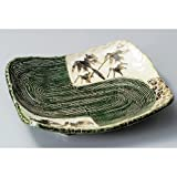 Square Plate utw174-2-554 [12.1 x 10.7 x 1.7 inch] Japanece ceramic Oribe white assault bamboo incorporate dish tableware