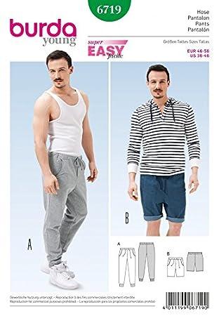 Décontracté Patron Pantalon Burda Couture Homme De 6719 Et Facile 435AjLR