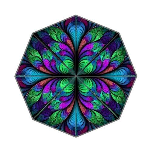 DailyLifeDepot Fractal Flower Floral Pattern Fantastic Design Totes Compact Lightweight Open / Close Foldable Rainy / Sunny Gift Custom Rain Umbrella